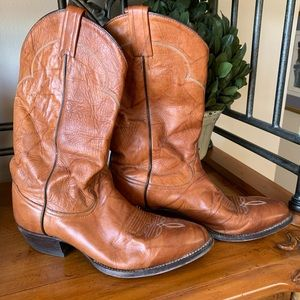 Tony lama men's brown leather cowboy boots size 10